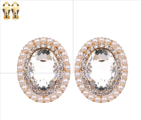 Pearl Cubic Zirconia and Crystal Clip On Earrings