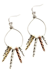 2 1/2 Inch Long, 1 Inch Wide Metal Hook Earrings
