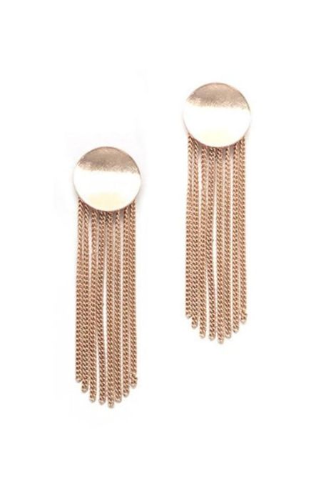 Round Metal Chain Tassel Post Earrings