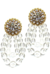 Rhinestone Clear Ball Drop Post Earrings