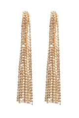 Tassel W/ Stone Long Clip Earrings