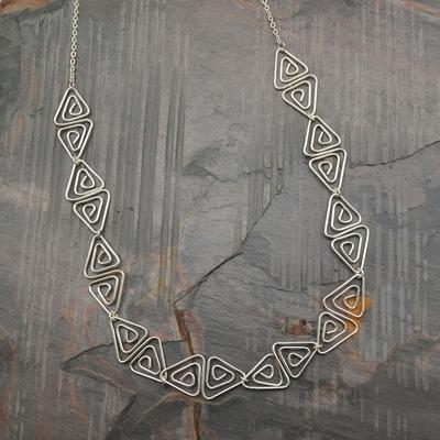 Silver Plated Triangle Dichroic Necklace
