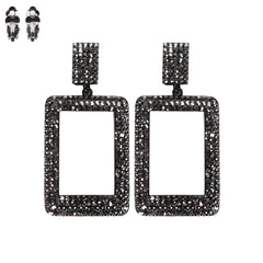 Square Rhinestone Clip Earring black white