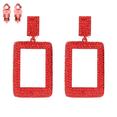 Square Rhinestone Clip Earring Red