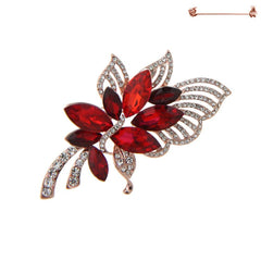 Red Flower Rhinestone Brooch