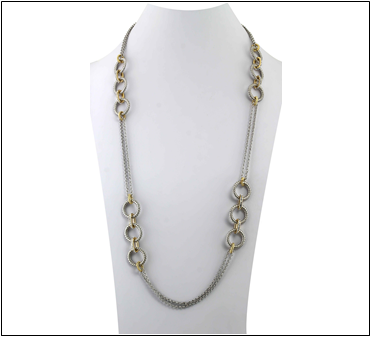 "36"" Two Tone Crystal Link Necklace Set"