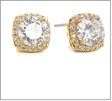 Gold Plated CZ Square Stud Earring