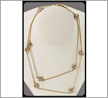"36"" Rose Gold Cz Cube Chain"