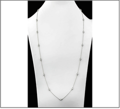 36 Inch Silver Necklace with Cubic Stones