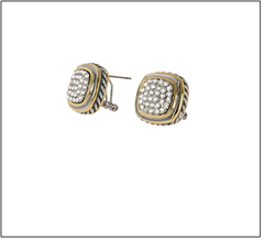 Two Tone Square Crystal Earring