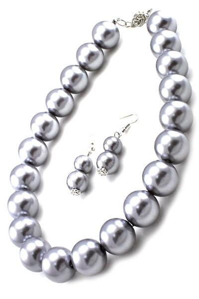 Pearl Necklace Set with 1 inch Ear Drop Pearl Hook Earrings