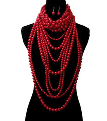 Red Pearl Long Layered 3 Pcs Set