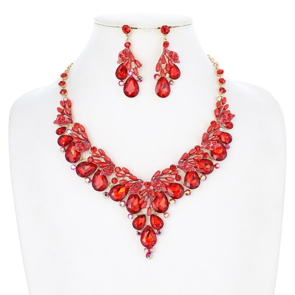 Red V Rhinestone Pearl Necklace