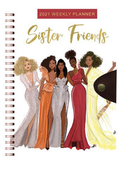 Sister Friends 2021 Weekly Planner, Black owned business, Black Art, Stationery