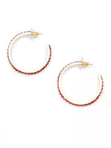 Diamond Cut Ball Chain Hoop Earrings
