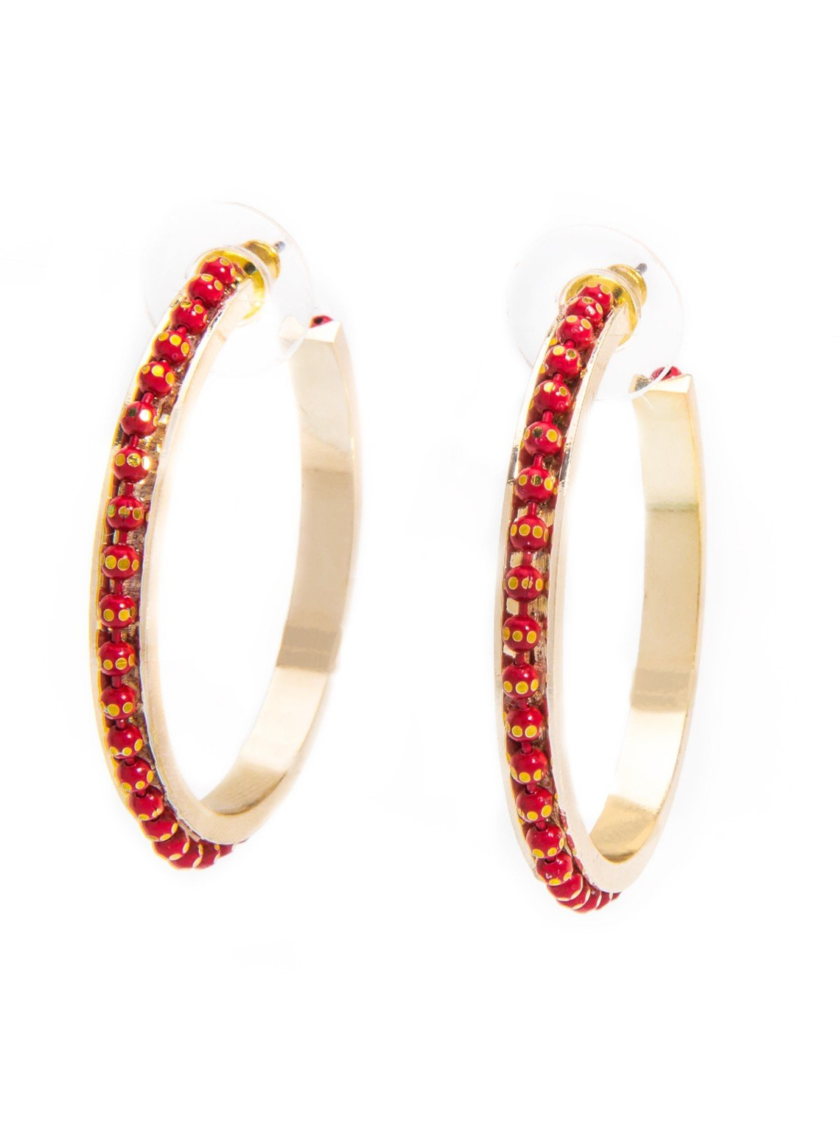 Red Diamond Cut Ball Chain Hoop Earrings