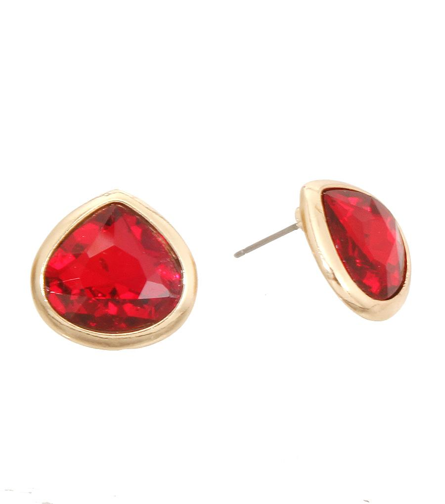 Red Teardrop Stud Earrings