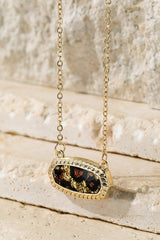 leopard print oval charm necklace