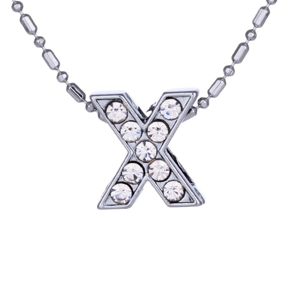 Maria Crystal & Silver Initial Necklace