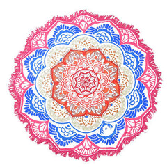 Large Lotus Print Round Beach Pool Towel
