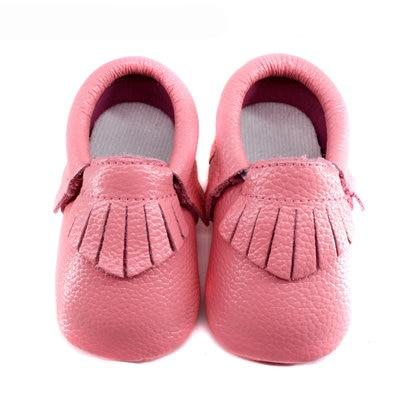 Genuine Leather Baby Moccasins with Fringe