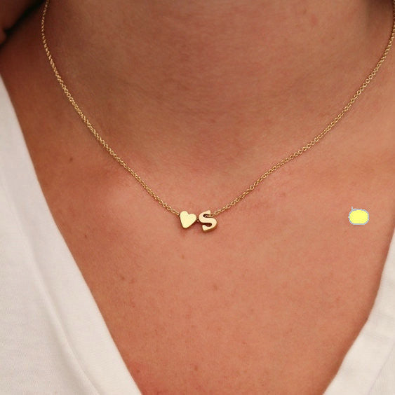 Initial and Heart Necklace