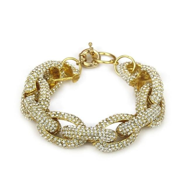 Fashion Crystal Studded Rhinestone Pave Link Chain Bracelet