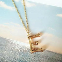 Gold Hammered Bamboo Pendant Necklace