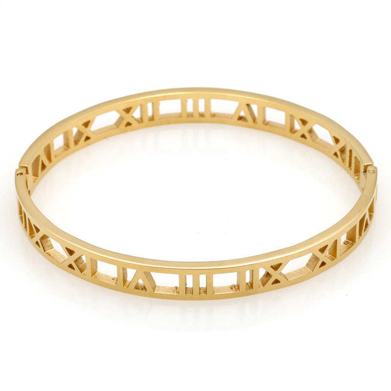 Roman Number Bangle Cuff Stainless Stell Bracelets