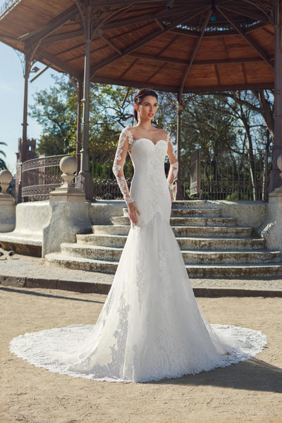 Beaded Lace Mermaid Wedding Dress with Illusion Details