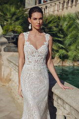 White Textured Gown with Nude Lining