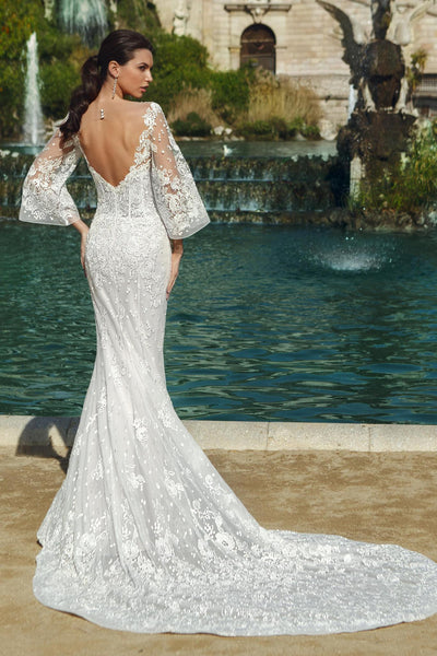 Embroidered Lace Trumpet Gown with Bell Sleeves