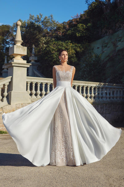 Illusion Neckline Lace Gown with Removable A-line Skirt