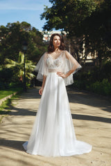 Embellished Lace Gown with Tulle Butterfly Sleeves