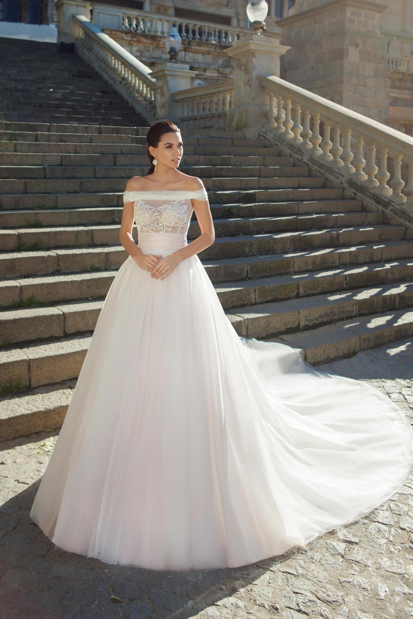 Off-the-Shoulder Wedding Gown with Tulle Skirt