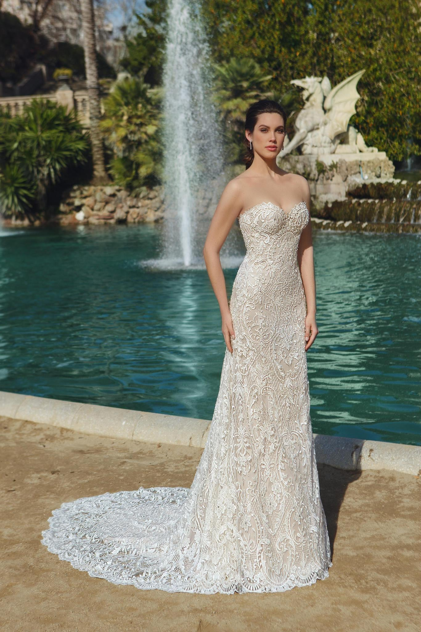 Strapless Sweetheart Lace Column Wedding Gown