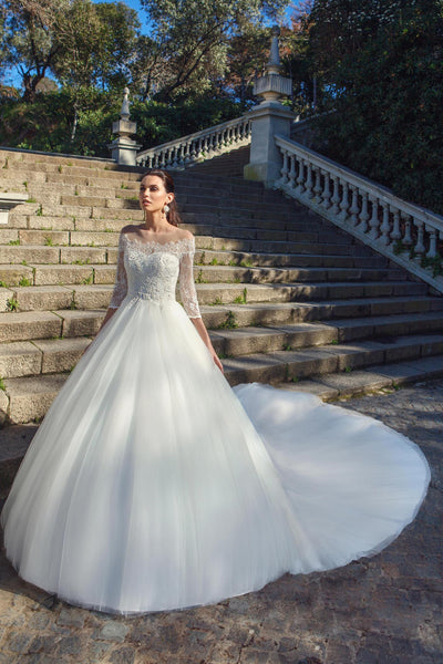 Three Quarter Sleeves Lace and Tulle Gown