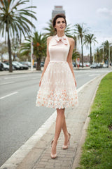 Embroidered Lace with Flowers and Sparkles Dress
