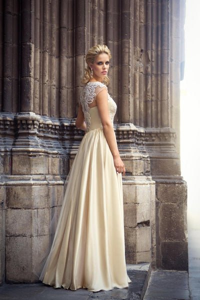 Emboidered Mesh Champagne Gown