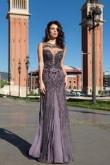 Illusion Plunging Neck Plum Gown