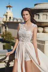 Asymmetrically Embellished Lace Dress with Slits