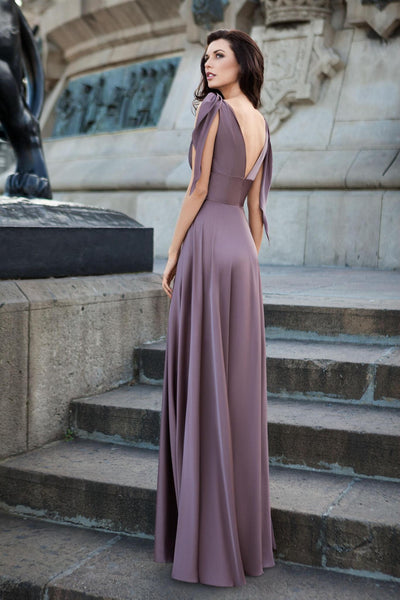 Empire Waist Plunged Neck and Back Plum Dress