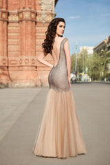 Stretch Lace Open Back Mermaid Gown