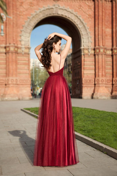 Red Long Lace and Tulle Dress with Back Straps
