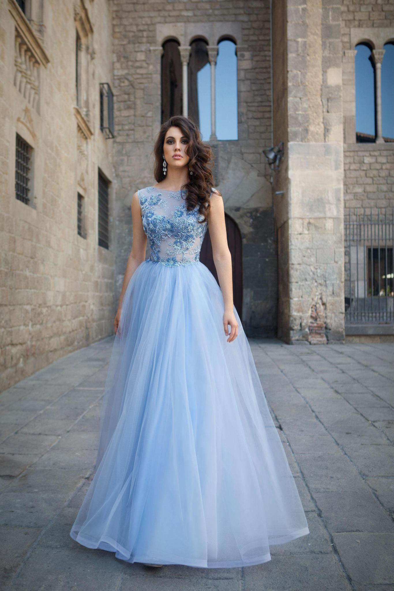 Periwinkle Blue Embroidered Lace and Tulle Ballgown