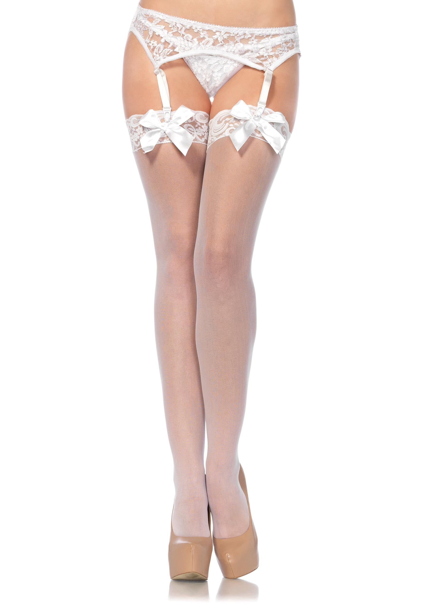 Lace Top Thigh Highs With Bows