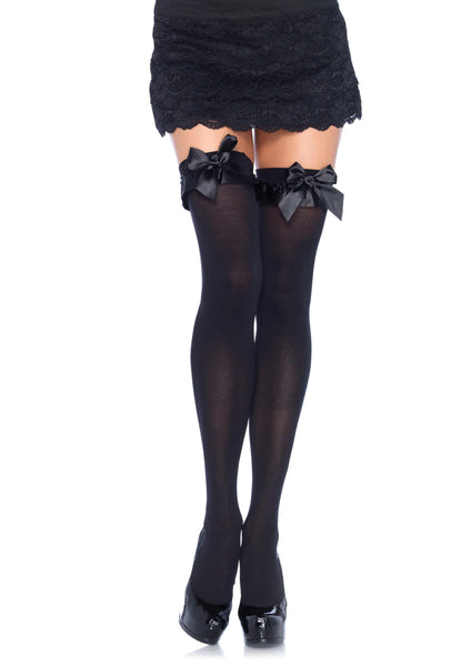 Ruffled Opaque Thigh Highs