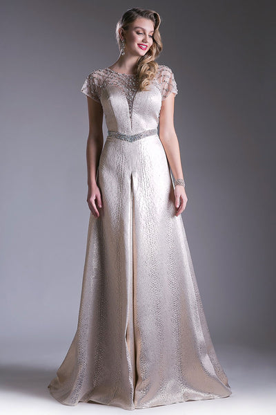 Crystal Beaded Champagne Formal Dress
