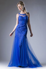 Embroidered Sheath Long Gown with Tulle