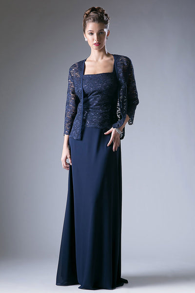 Lace and Sequins Formal Dress with Bolero Jacket